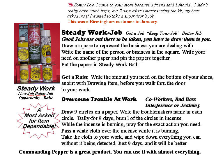 Sonny Boy Spiritual Products and faith help with Steady Work